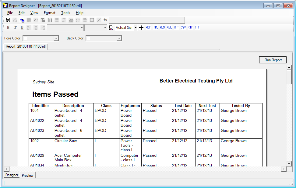 FASTtag Test and Tag Report Designer – Test Report Template